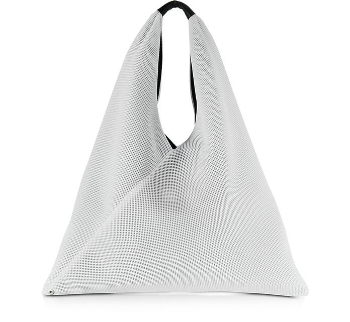 White w/Black Lining Perforated Scuba Mesh Japanese Tote - MM6 Maison Martin Margiela