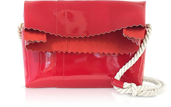 Red Patent Leather Foldover Shoulder Bag - MM6 Maison Martin Margiela
