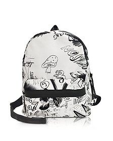 White and Black Drawings Print Backpack - MM6 Maison Martin Margiela