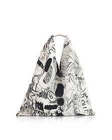 White and Black Drawings Print Japanese Tote Bag - MM6 Maison Martin Margiela