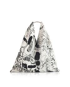 White and Black Drawings Print Japanese Tote Bag - MM6 Maison Martin Margiela