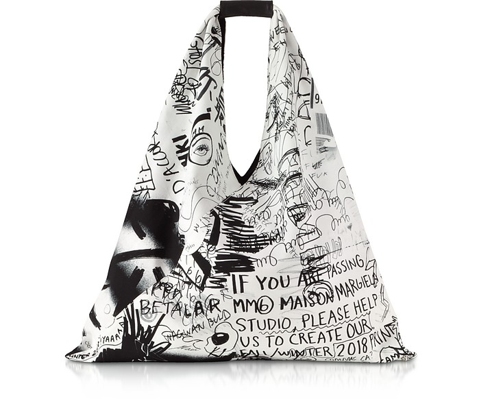 Japanese Shopper in Cotone con Stampa Graffiti Black&White MM6 Maison Martin Margiela KmUkje