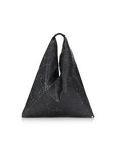Black Crackled Leather Japanese Tote Bag - MM6 Maison Martin Margiela