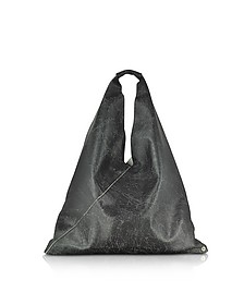 Black Crackled Leather Japanese Tote Bag - MM6 Maison Martin Margiela