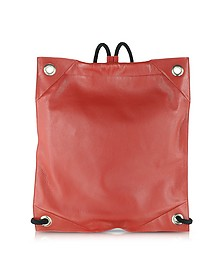 Red Grained Leather Backpack