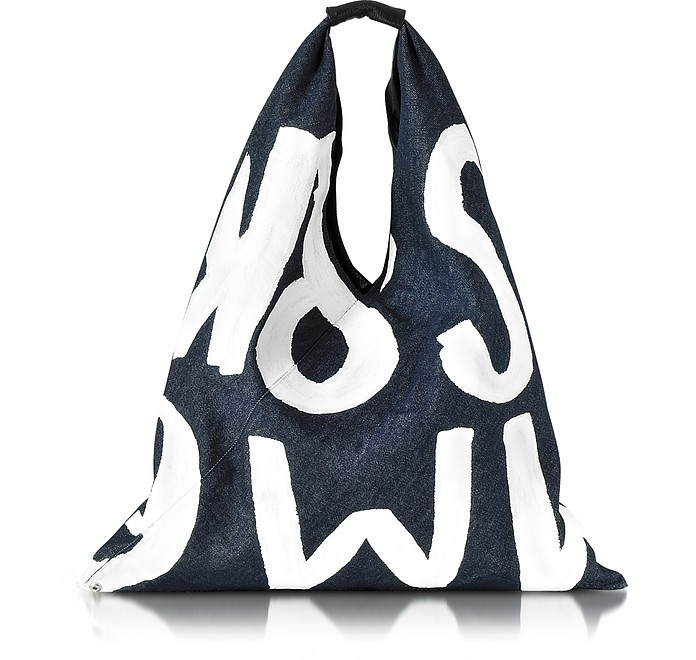 MM6 White Painted Washed Denim Tote - MM6 Maison Martin Margiela