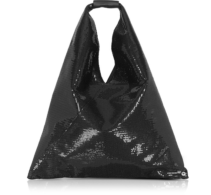 Black Micro Sequins Japanese Tote Bag - MM6 Maison Martin Margiela