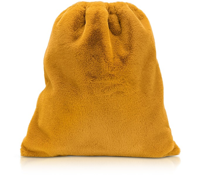 Fresia Yellow Furry Drawstring Backpack - MM6 Maison Martin Margiela