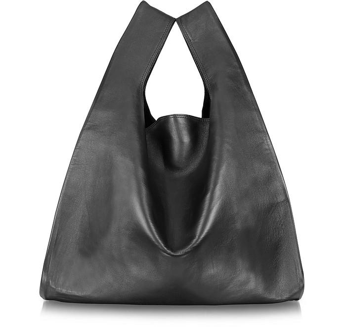 Black Leather Shopper Tote - MM6 Maison Martin Margiela