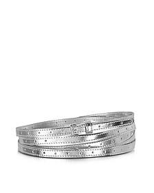 Silver Metal Fabric Women's Thin Belt