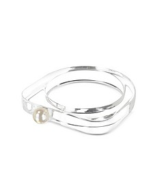 Lucite Bangle with Pearl