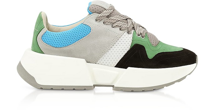 Green/Gray Color Block Suede and Mesh Platform Sneakers - MM6 Maison Martin Margiela