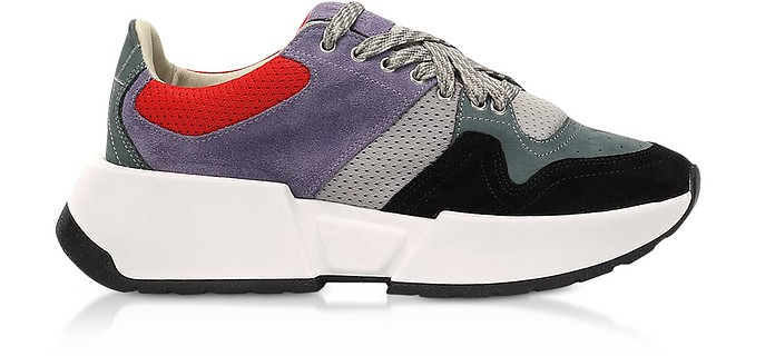 Gray/Lilac Color Block Suede and Mesh Platform Sneakers - MM6 Maison Martin Margiela
