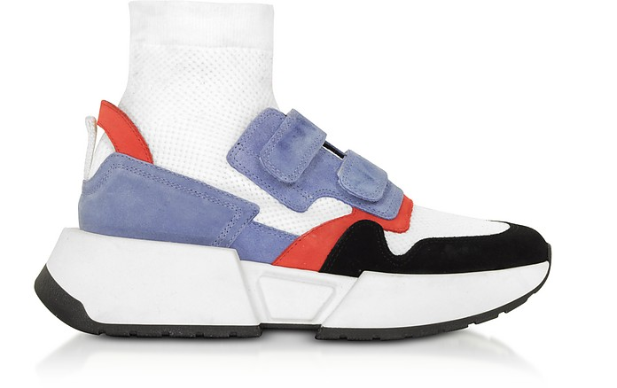 White Nylon and Color Block Suede Sock Platform Sneakers - MM6 Maison Martin Margiela