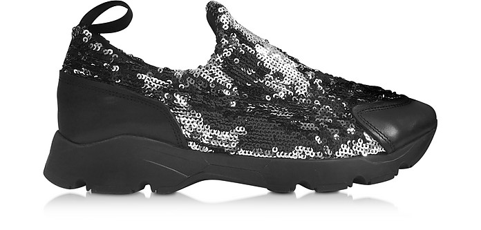 Black and Silver Sequins Low-Top Sneaker - MM6 Maison Martin Margiela