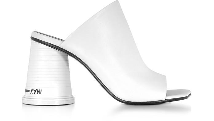White Leather High Heel Slide Sandals - MM6 Maison Martin Margiela