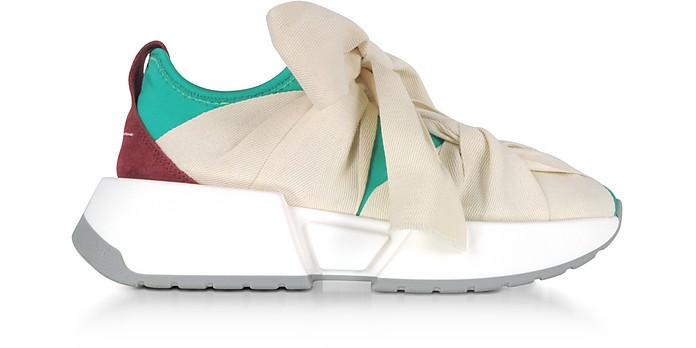 Green, Red and Ecru Nylon and Leather Bow Sneakers - MM6 Maison Martin Margiela