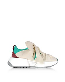 Green, Red and Ecru Nylon and Leather Bow Sneakers - MM6 Maison Martin Margiela 梅森·马丁·马吉拉