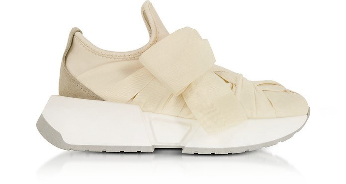 Beige, Taupe and Ecru Nylon and Leather Bow Sneakers - MM6 Maison Martin Margiela