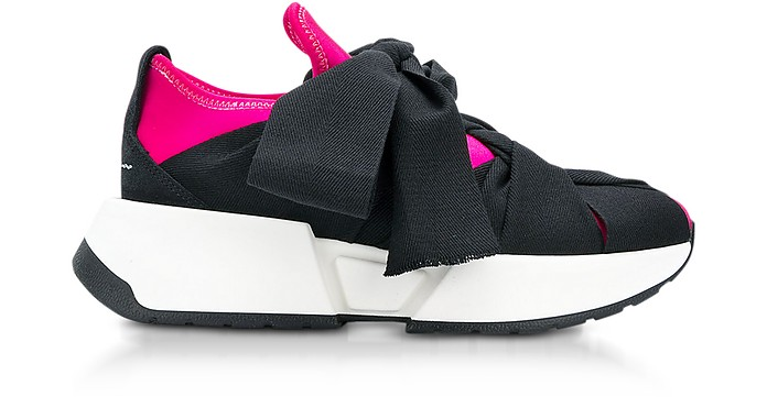 Pink, Navy and Black Nylon and Leather Bow Sneakers - MM6 Maison Martin Margiela