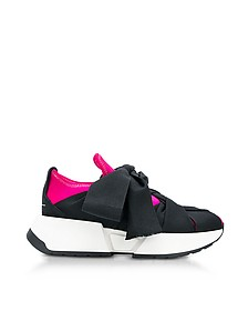 Pink, Navy and Black  Nylon and Leather Bow Sneakers - MM6 Maison Martin Margiela 梅森·马丁·马吉拉