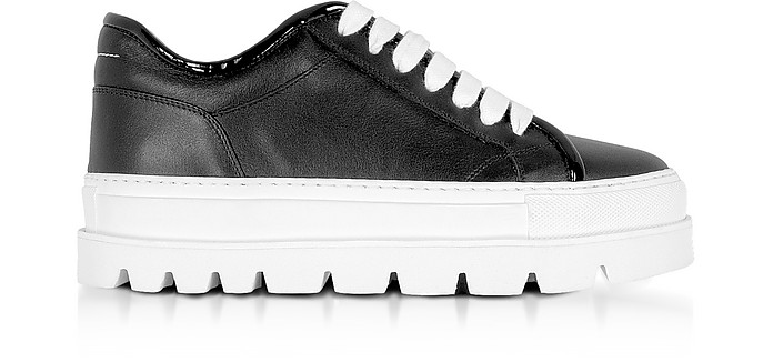 Black Leather Flatform Sneakers - MM6 Maison Martin Margiela