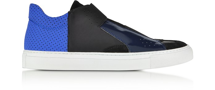 Black and Blue Leather and Fabric Sneaker - MM6 Maison Martin Margiela
