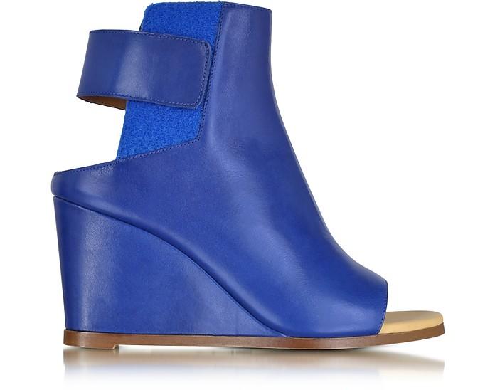Blue Leather Wedge Ankle Boot - MM6 Maison Martin Margiela