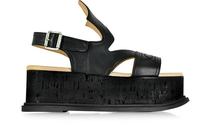 76d800c1155 MM6 Maison Martin Margiela Black Leather Platform Sandal 40 IT EU at ...