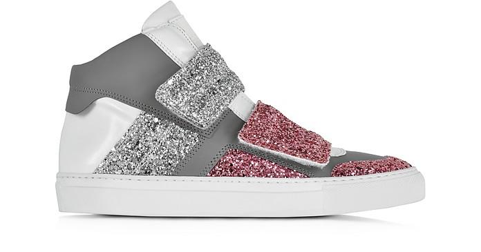 Color Block Leather and Glitter Sneaker - MM6 Maison Martin Margiela