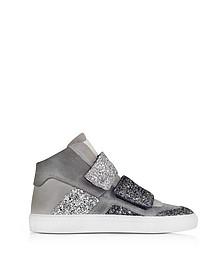 Two Tone Gray Suede Sneaker w/Glitter - MM6 Maison Martin Margiela