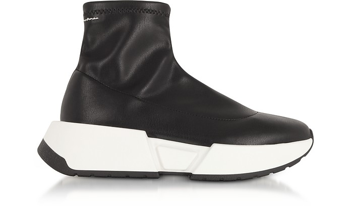 Black Stretch Leather Sock Sneakers - MM6 Maison Martin Margiela