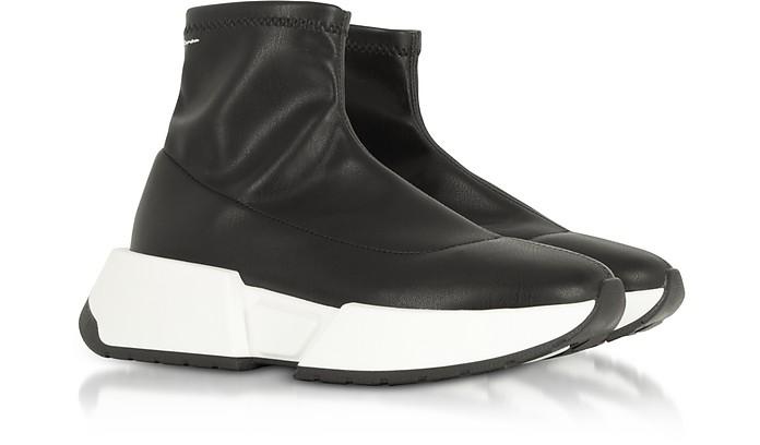 Mm6 Maison Martin Margiela Étirement Noir Chaussures En Cuir De Chaussettes 0swMP35