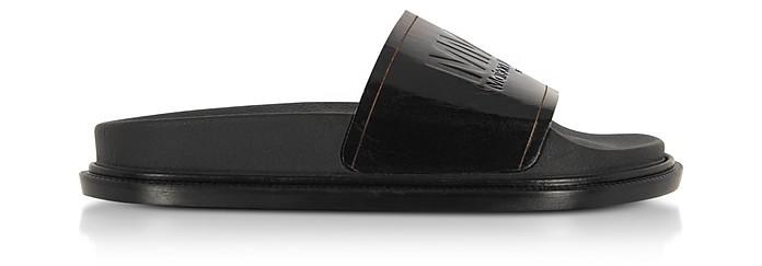 Black Signature Slide Sandals - MM6 Maison Martin Margiela