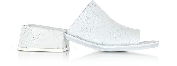 White Crackled Leather Slides Sandals - MM6 Maison Martin Margiela