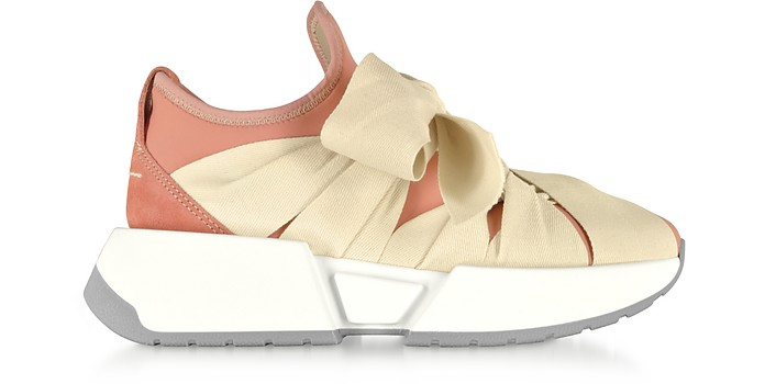Pink Neoprene and Suede Ribbon Tied Sneakers - MM6 Maison Martin Margiela