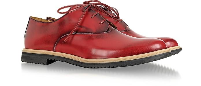 Burgundy and Black Leather Lace Up Shoe - MM6 Maison Martin Margiela