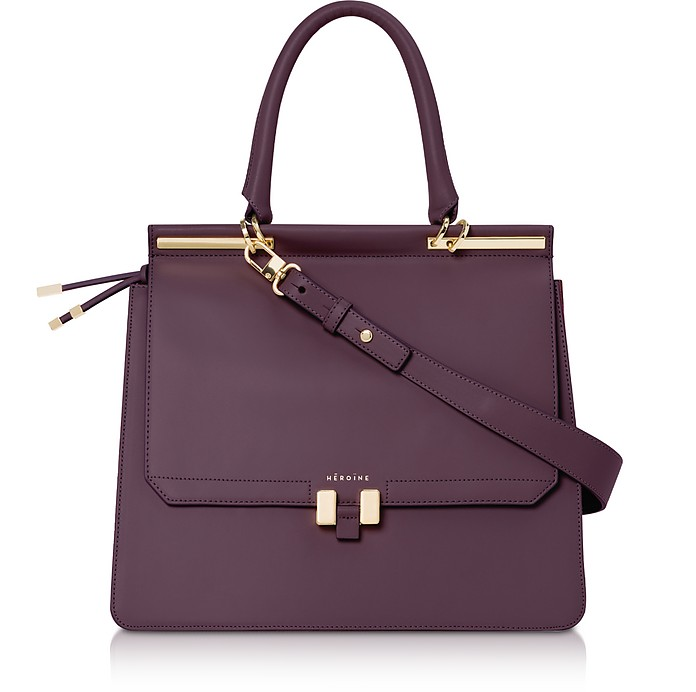 Berry Leather Marlene Laptop Briefcase 13' - Maison Heroine