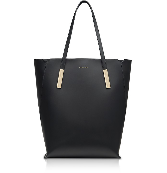 Black Marta Leather Tote Bag - Maison Heroine