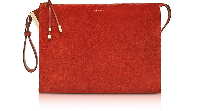 Iva Tablet M Brick Suede Clutch - Maison Heroine