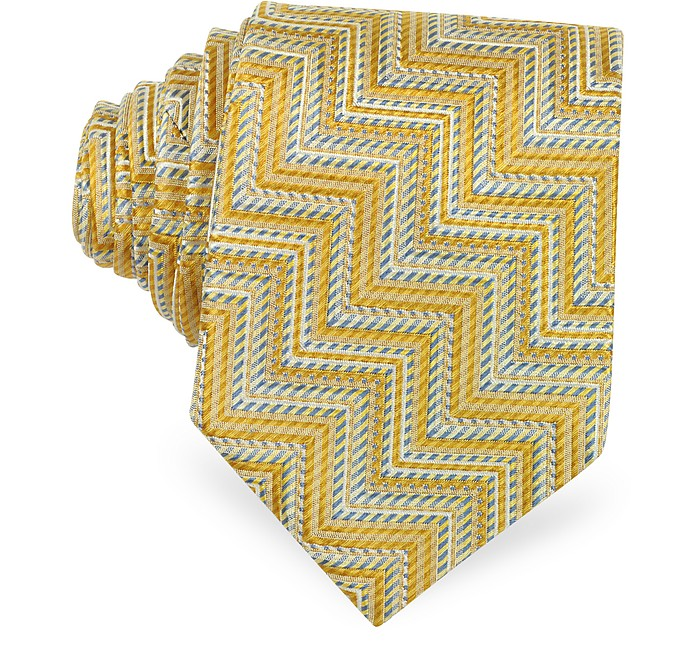Yellow & Blue Zig Zag and Micro Stripe Silk Narrow Tie - Missoni
