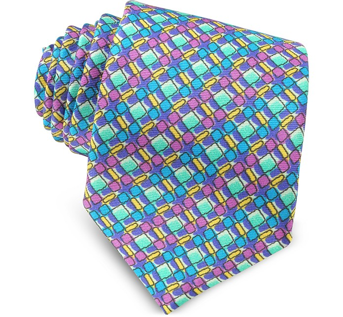 Multicolor Geometric Printed Silk Narrow Tie  - Missoni