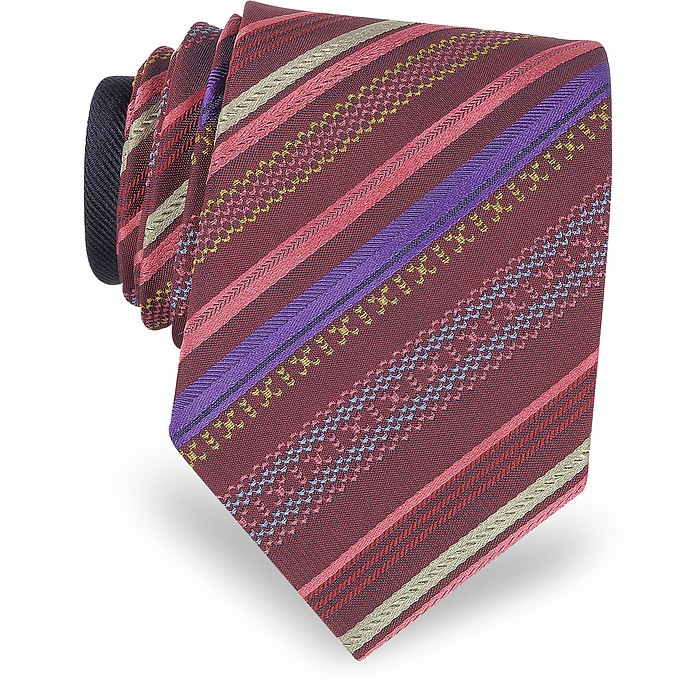 Burgundy Diagonal Stripe Woven Silk Narrow Tie - Missoni