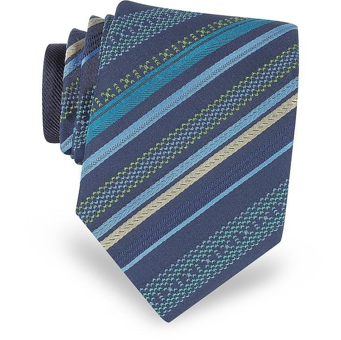 Navy Blue Diagonal Stripe Woven Silk Narrow Tie - Missoni