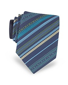 Navy Blue Diagonal Stripe Woven Silk Narrow Tie - Missoni
