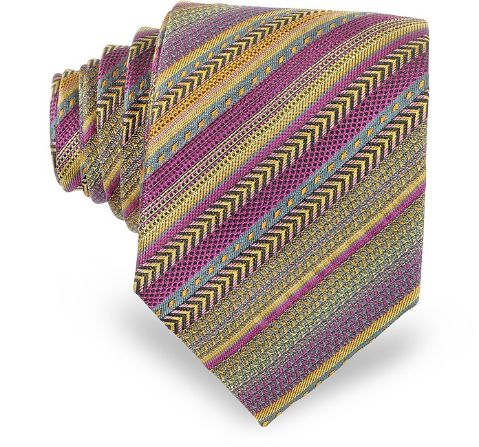 Purple and Yellow Diagonal Striped Woven Silk Narrow Tie - Missoni