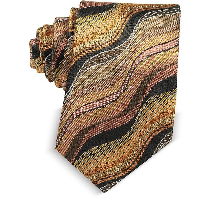 Waves Woven Twill Silk Men's Narrow Tie - Missoni