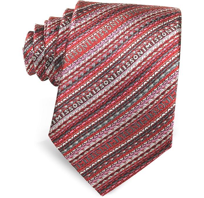 Diagonal Stripe and Signature Woven Silk Narrow Tie - Missoni