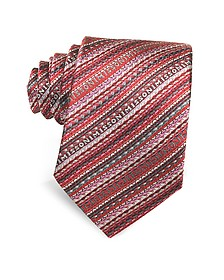 Diagonal Stripe and Signature Woven Silk Narrow Tie - Missoni