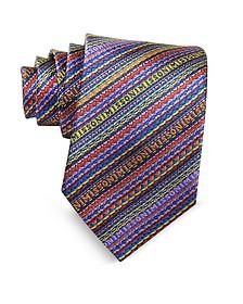 Schmale Krawatte aus Seide mit diagonalen Streifen und Logo - Missoni